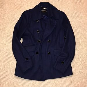 Express Women's Royal Blue Mid Length Peacoat